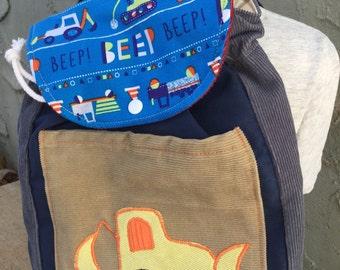 Toddler Sized Backpack -- Bulldozer