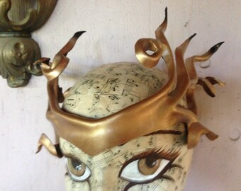 Bronze metallic shimmery leather crown, cosplay headpiece
