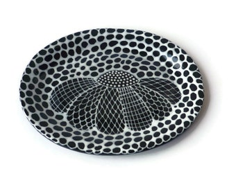 Small Oval Dish with Black and White Doodle Design