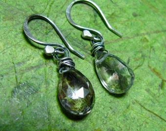 Mystical Aura - AB Crystal Quartz and Sterling Silver Earrings