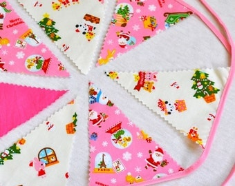 Pink Christmas Bunting in Japanese Kokka Cotton - Mini decoration