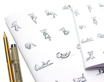 Yoga cats notebook set - 2 note books A6 and A5 bikram yoga exercise set sketch book