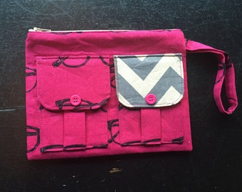 Glasses Pink Wristlet, Wallet Wristlet for Women, iPhone Wristlet, Fabric Wallet, Wristlet Purse