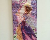 Lilac Flower, Fairy art, art hanging, wall scroll, bees, - by Meredith Dillman
