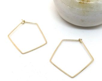 Pointed Geometric hoops - 14k gold fill, rose gold fill, sterling silver or copper