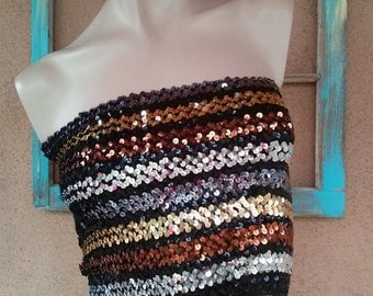 Vintage 1970s Tube Top Sequin Glam Rock Festival Sz M L Up to B38