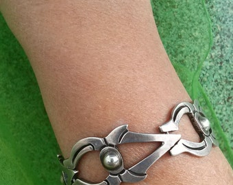 Vintage 1940s Silver Bracelet Taxco Mexican Chunky Tribal Chain Link