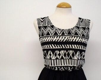 Aztec dress graphic print dress black and white dress skater dress monochrome mini workwear cotton