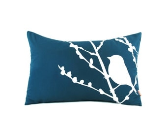 Dark Teal Bird on Cherry Blossom Rectangle Pillow-Bird Lumbar Pillow- Cottage Chic Decorative Pillow