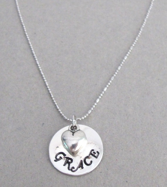 Handstamped Name Pendant Necklace Child Name with Puffy Heart Personalized hand stamped name necklace with heart charm Free Shipping In USA