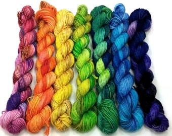 Rainbow Mini-skeins- 7 Colors, 644 yds/140 g Sock Yarn- Hexipuffs, Granny Squares, Fairisle, Intarsia, Amigurumi