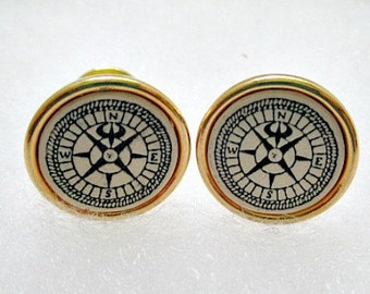 Compass Vintage Cuff Links Cufflinks - Signed Barlow Cufflinks - Dad Dude Jewelry Gift
