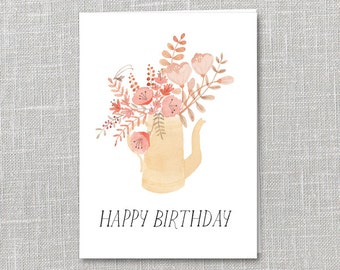 Happy Birthday Bouquet Notecard Instant Download PDF