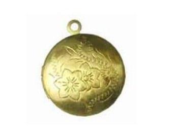 Round Locket, 20mm Brass Locket, Gold Flower Locket, gold locket  Raw Brass Locket