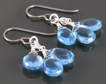 Genuine Swiss Blue Topaz Three Stones Earrings with Titanium Ear Wires - December Birthstone - f16e029