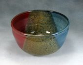 Small 6 Cup  Blue Yellow and Red Ceramic Bowl Hand Thrown Stoneware Pottery Mixing Bowl 2
