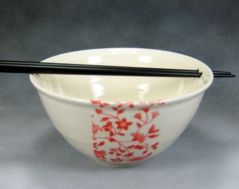 Red and White Chopstick Noodle Bowl, Rice Bowl, Soup Bowl, Pho Bowl, Stir Fry Bowl Hand Thrown Translucent Porcelain Pottery 51