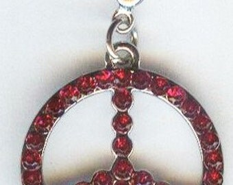 Beautiful Peace Sign Pendant Charm Bead with Cherry Red Rhinestones 20mm