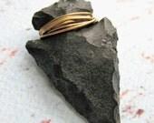 Hand Knapped Patina Churt Stone Arrowhead Pendant  in Black