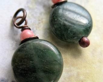 Green Kyanite Coin Bead Charms - 1 pair