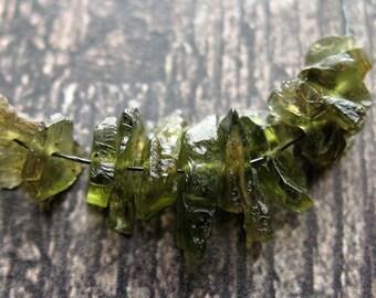 Raw Hammered Green Tourmaline Bead Set