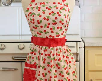 Retro Apron Cherries on Pink - CHLOE