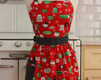 Retro Apron Christmas Ornaments on Red - CHLOE