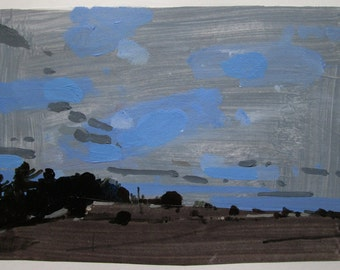 Lost Dog Hill, November 29, Original Landscape Collage Painting on Paper, Stooshinoff