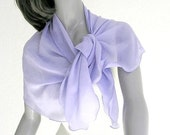 Light Lavender Scarf, Blue Lavender Scarf, Silk Chiffon Scarf, Light Periwinkle Wrap, Pure Silk Chiffon, Unique Hand Dyed, Petite Wrap XS S.
