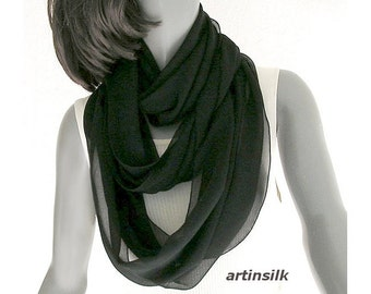 Black Infinity Scarf, Circle Scarf, Silk Chiffon, Pure Natural Silk, 100% Silk, Sheer Circle Scarf, White Infinity Scarf, Artisan Handmade.