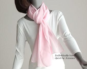 Light Pink Silk Scarf Crepe Coverup, Long Pale Pink Scarf, Hand Dyed Pure Silk Crepe Scarf, Hand Hemmed, Handmade, Ready to ship, Artinsilk.