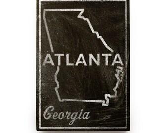 """Georgia Gift for Dad- Father Gift Ideas- Atlanta, GA State Art Box- 5""""x7"""" Atlanta Print- Atlanta Gifts- Atlanta Art- Georgia State Print"""