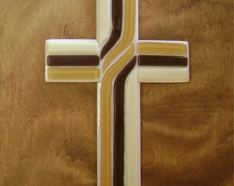 Glass Cross for Wall Mount in Brown, Amber, Ivory
