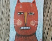 Original Cat Painting, Cat ACEO, Original Art, Cat Illustration, Folk Art, Quirky Feline, Outsider Art, Naive Illustration, Small Painting