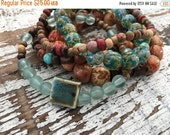 40% FLASH SALE- Beaded Stack Bracelets-Glass and Wood-Cuff Accessories-Boho Style-