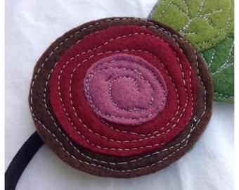 40% FLASH SALE- Felt Headband/Brooch-The Little Garden Bloom-Single Bloom-Mulberry