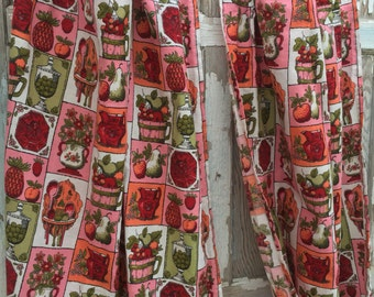 Vintage Kitchen Curtains-Red and Pink-Like New