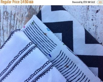 40% OFF FLASH SALE- Fat Quarter Bundle-Reclaimed Bed Linens-Black Grey and White
