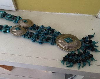 Turquoise Breastplate Macrame Necklace / Southwestern / Fringe / Multi Strand / Silver Medallions / Beads / Leather Cord
