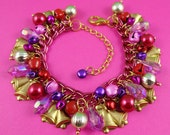 Pink Purple Red Gold Jingle Bell Christmas Charm Bracelet - festive holiday jewelry with coloured bells, vintage brass charms, pretty beads