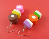 Dolly Mixtures Earrings - British sweets, retro sweeties, cute kitsch novelty, polymer clay, pick n mix sweets, sweet shop earrings, candy