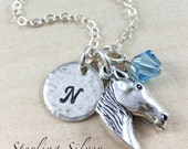 Personalized Horse Charm Necklace, Sterling Silver Horse Head Charm Necklace, Horse Lover Gift, Equestrian Necklace, Horse Charm Jewelry