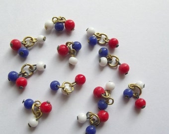 On Sale Vintage red white blue bead clusters