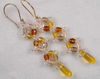 Hand Beaded Sparkling Fall Colors w/gold Crystal Drops - Earrings