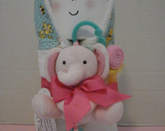 Hooded Towel/Baby Gift Set/Pink Elephant/Teether/Rattle/ Baby Shower Gift/New Baby