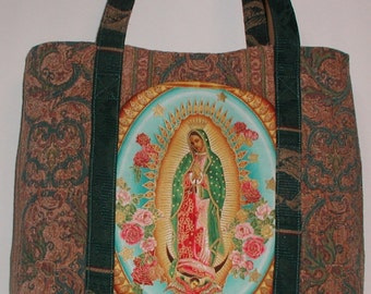 Catholic Purse Virgin Mary Tote Bag Heavy Duty Travel Case Blessed Mother Outside Pockets Amazing Grace Inside