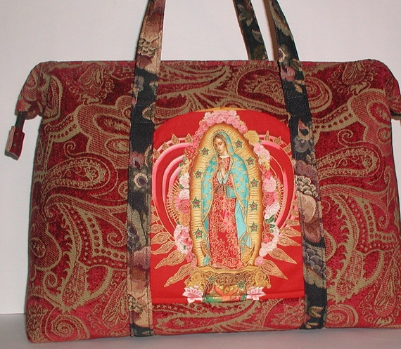 Catholic Carpet Bag Virgin Mary Tote Bag Heavy Duty Red Gold