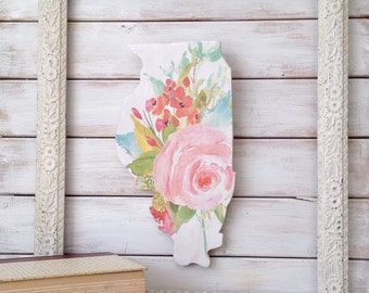Illinois Sign. Home Decor Wall Art. Rustic Home Decor. Rustic Decor. home decor signs. living room decor. state art. state sign. floral art.