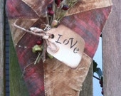 Primitive Heart Hanging Ornament Valentines Folk Art