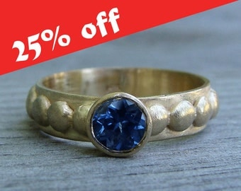 CLEARANCE - Sapphire Gold Ring - Fair Trade AAA Malawi Blue Sapphire and Recycled 14k Yellow Gold  - Engagement - Eco-Friendly, size 7